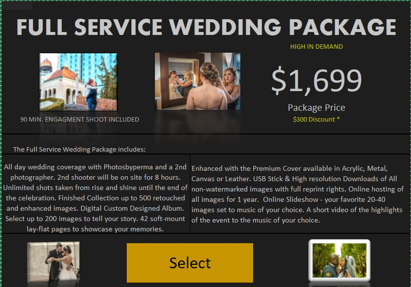 Full Service All day wedding photoshoot $300 off special. Permashine Photography